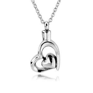 ashanger hart in hart zilverkleurig