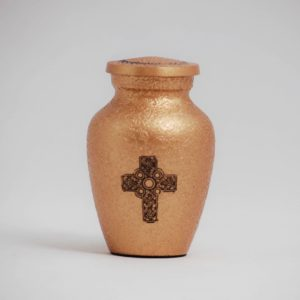 mini urn, gold with cross