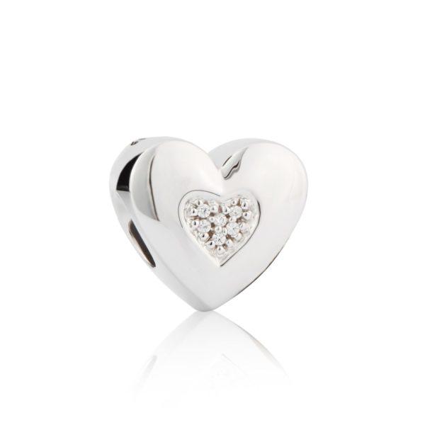 zilveren asbedel hartje met Zirkonia