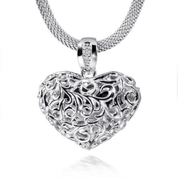 zilveren ashanger gekruld hart
