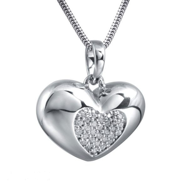 zilveren ashanger heart with zirkonia stones