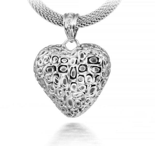 zilveren ashanger, klassiek hart