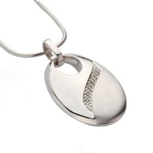 zilveren ashanger, ovaal met Zirkonia