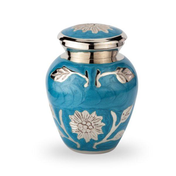 mini urn parelmoer blauw met bloemen