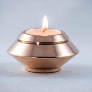 mini urn edelstaal met kaarsje rosé goud