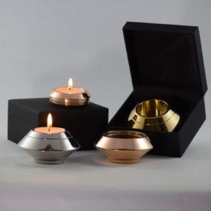 mini urn edelstaal met kaarsje zilverkleurig