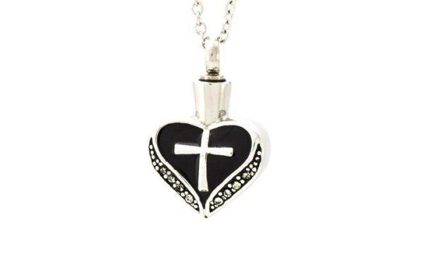 ashanger zwart emaille zilveren kruis