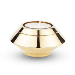mini urn edelstaal met kaarsje goud