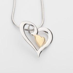 ashanger goud hartje in 925 sterling zilveren hart