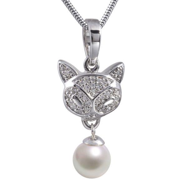 Ashanger kat poes, glanzend zilver met zirkonia