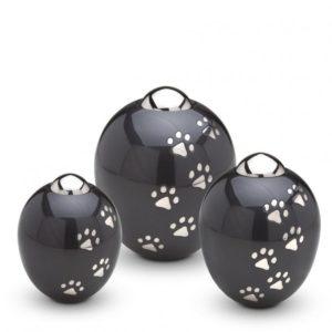messing dieren urn mini zwart met grijze pootjes