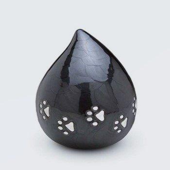 Messing Lovedrop Dierenurn, parelmoer zwart