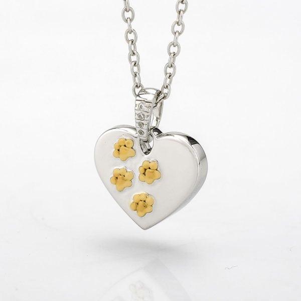 Dieren Ashanger Zilveren hart met gouden pootjes
