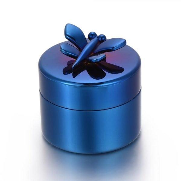 mini urn blauw met Vlinder