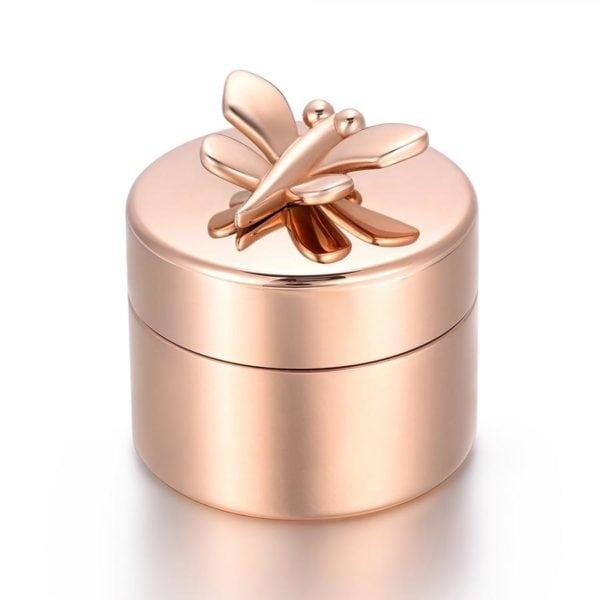 mini urn rose goud met Vlinder