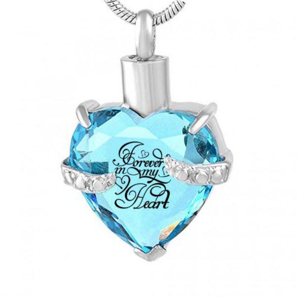 Assieraad Hartje Glas Aqua blauw