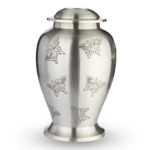 Grote Urn Zilverkleurig Design Vlinder