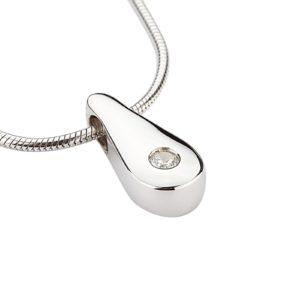 zilveren ashanger kleine traan zirkonia