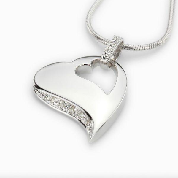 Zilveren ashanger hart Zirkonia